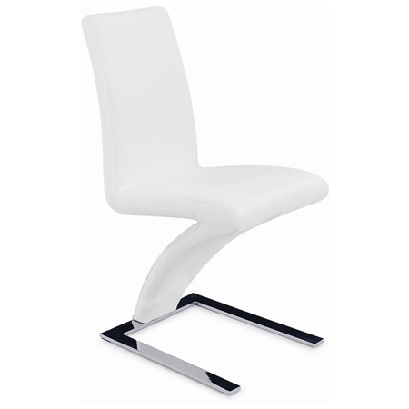 Brent z shaped dining chair chrome base white dcg stores for Z shaped dining chair