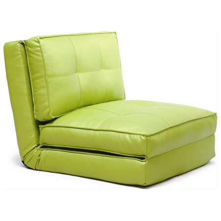 Brianna Sleeper Chair Tufted Folding Single Bed Green