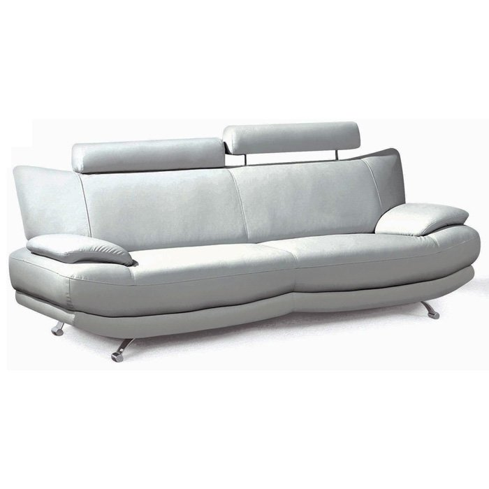 Zoey Sofa & Loveseat - Light Gray Leather, Adjustable Headrests - NSI-433001S