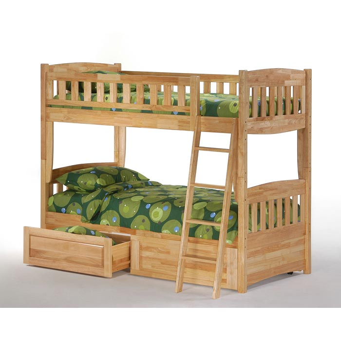Cinnamon Twin Bunk Bed Natural Finish Dcg Stores