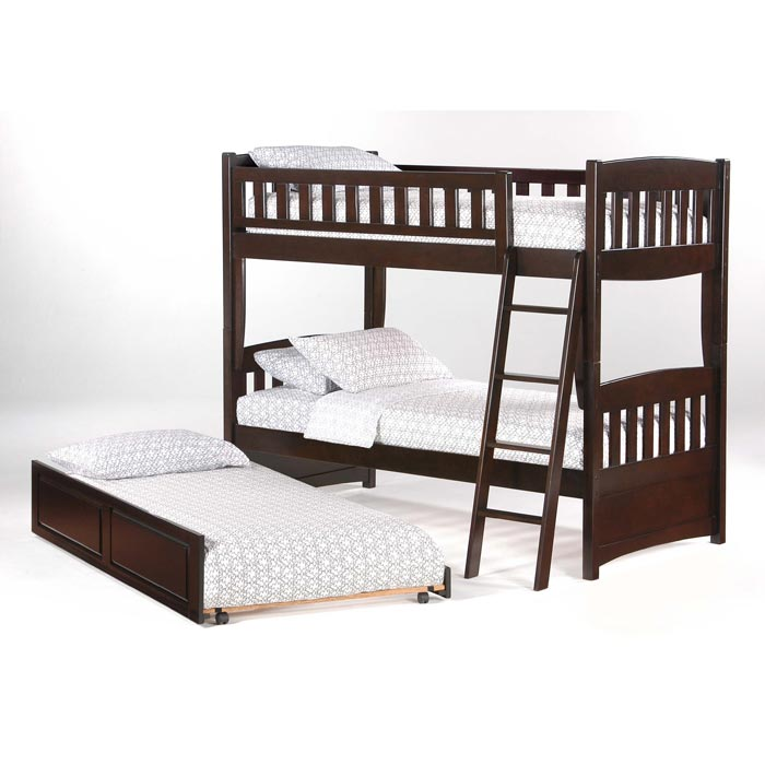 Cinnamon Bunk Bed In Chocolate With Optional Rolling Twin Trundle