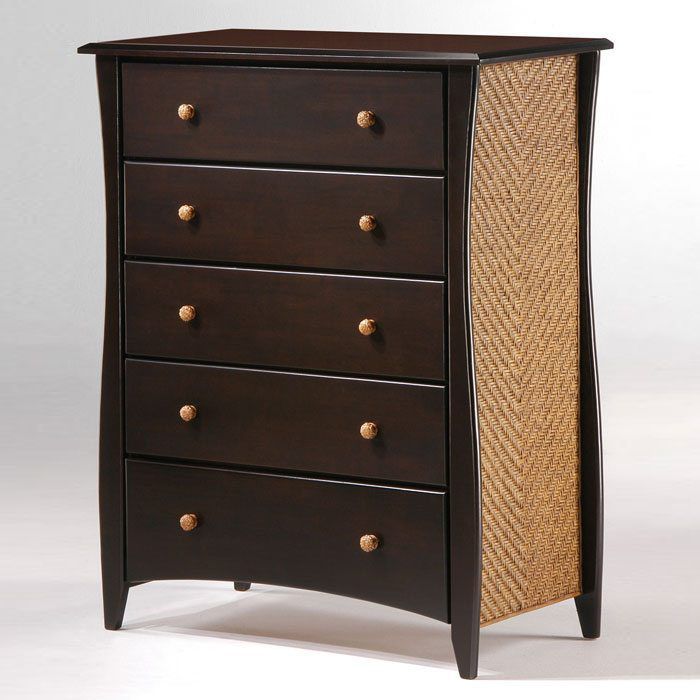 Clove Five Drawer Chest with Rattan Panels and Knobs - NDF-RATTAN-5C