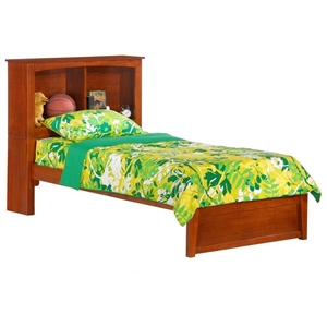 Vanilla Kid%27s Bed with Cherry Bookcase Headboard