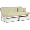 Arden Complete Armless Futon Set White Frame Clean Timeless Design Comfortable Mattress Options