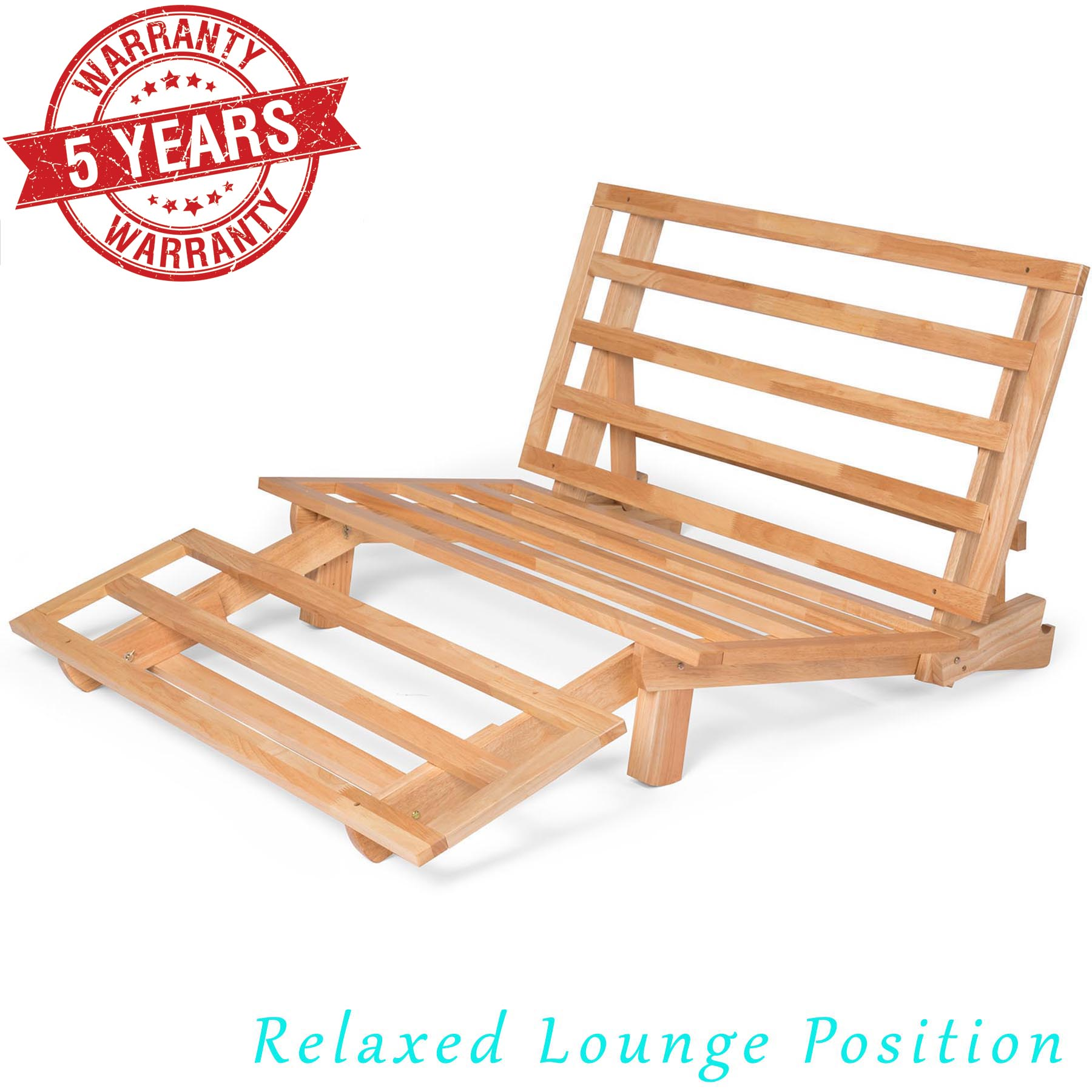 Tri Fold Futon Lounger Solid Wood Frame Natural Finish Nf Lngr