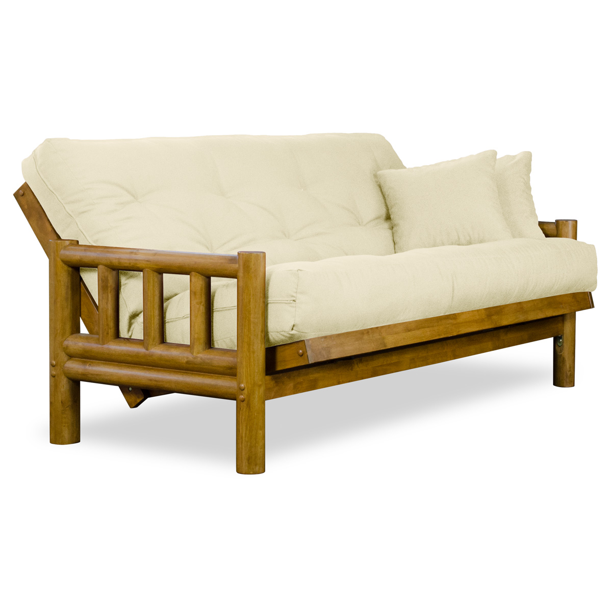 Tahoe Log Futon Frame And Mattress Set Heritage Finish Nf Tlog
