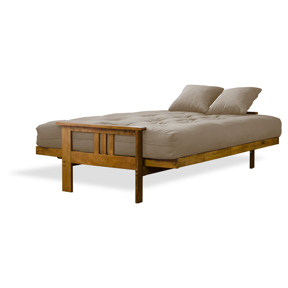 Orlando Wood Futon Frame and Mattress Set Heritage