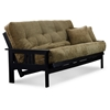 Orlando Full Size Wood Futon Set - Black, Designer Mattress Made in USA - NF-OLND-BLK-DSNR-SET#