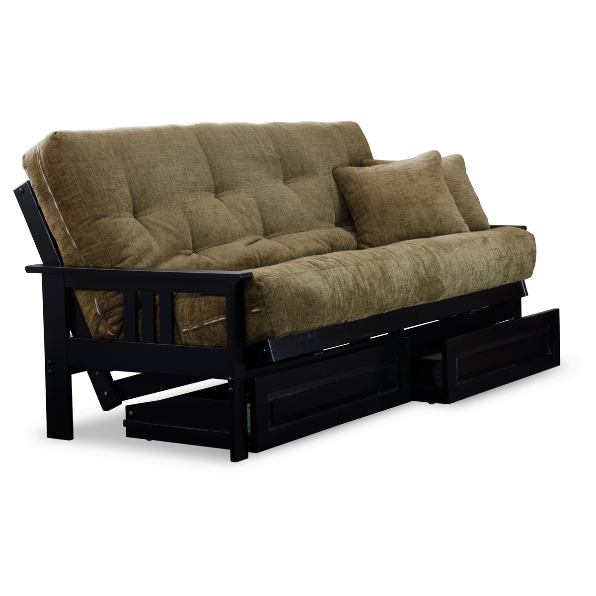 Orlando Full Size Wood Futon Set Black Designer