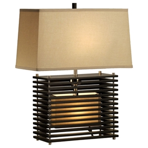 Kimura Reclining Table Lamp with Wood Slats