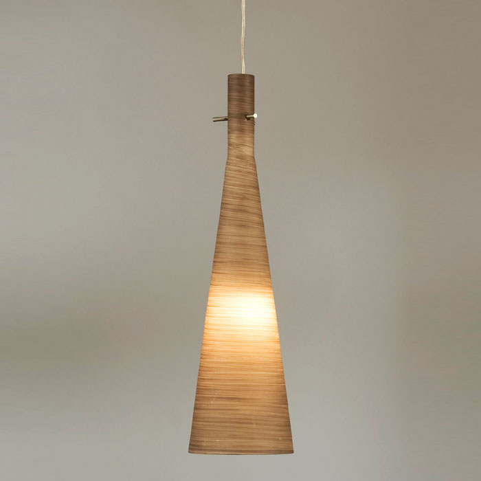 Coronet Pendant with Dark Brown Glass Shade