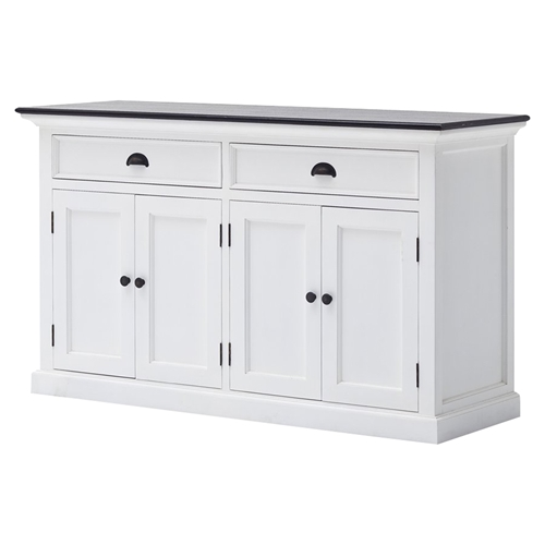 Halifax Contrast Buffet Table 2 Drawers Pure White Black Top Dcg Stores