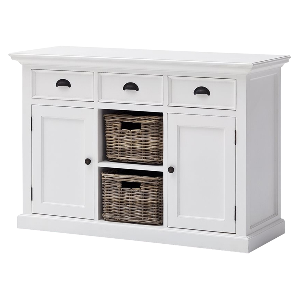Halifax Buffet With 2 Baskets Pure White Dcg Stores