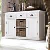 Halifax Contrast Buffet Table - 2 Baskets, Pure White, Black Top ...