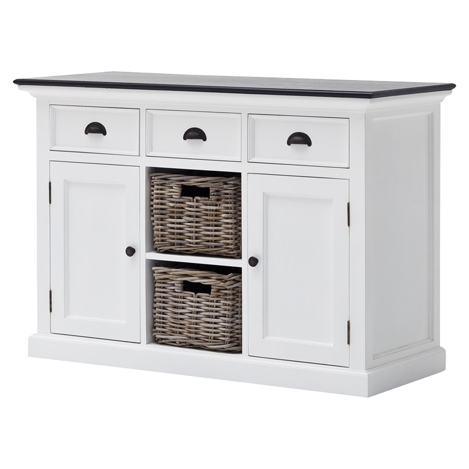 Halifax Contrast Buffet Table - 2 Baskets, Pure White, Black Top - NSOLO-B129CT