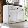 Halifax Contrast Buffet Table - Sliding Doors, Pure White, Black Top ...
