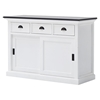 Halifax Contrast Buffet Table - Sliding Doors, Pure White, Black Top - NSOLO-B130CT