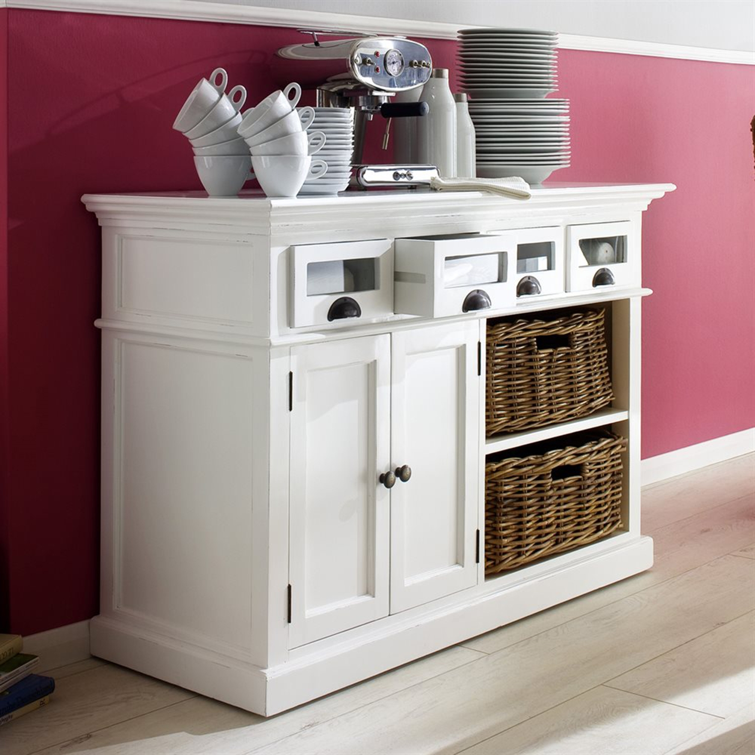 Halifax Kitchen Buffet Table - Pure White - NSOLO-B131