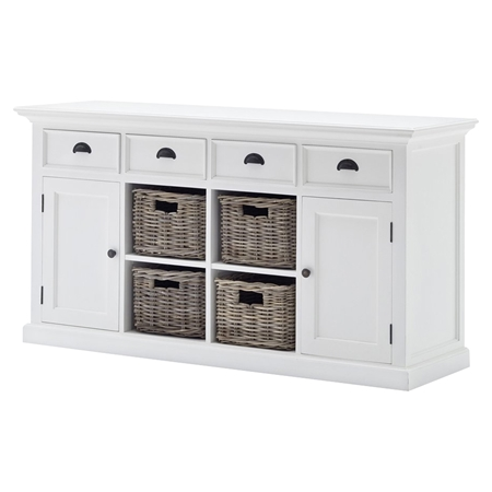 Halifax Buffet With 4 Baskets Set Pure White Dcg Stores