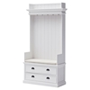 Halifax Entryway Coat Rack and Bench Unit - Cushion, Drawers, Pure White - NSOLO-CA581