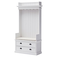 Halifax Entryway Coat Rack and Bench Unit - Cushion, Drawers, Pure White