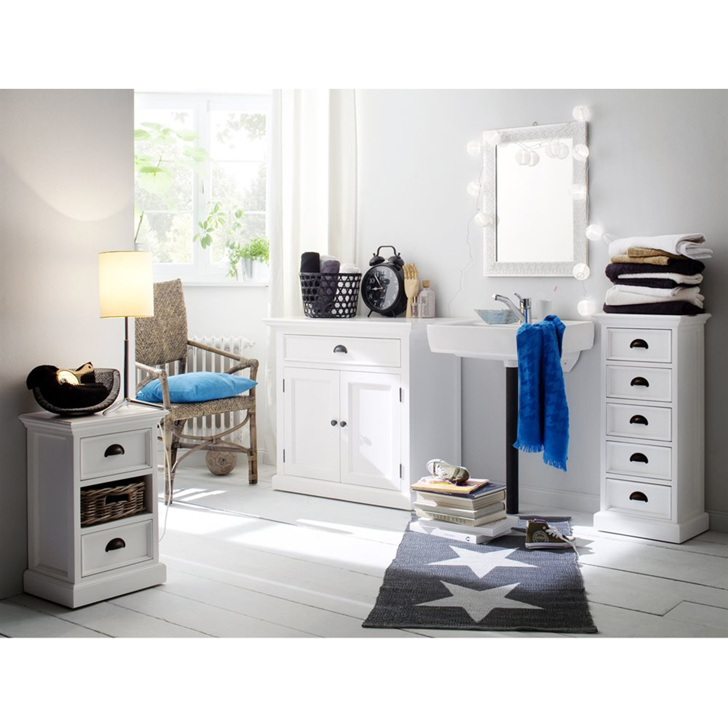 Halifax Bedside Storage Unit with Basket - Pure White - NSOLO-CA585