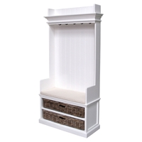 Halifax Entryway Coat Rack and Bench Unit - Cushion, Baskets, Pure White