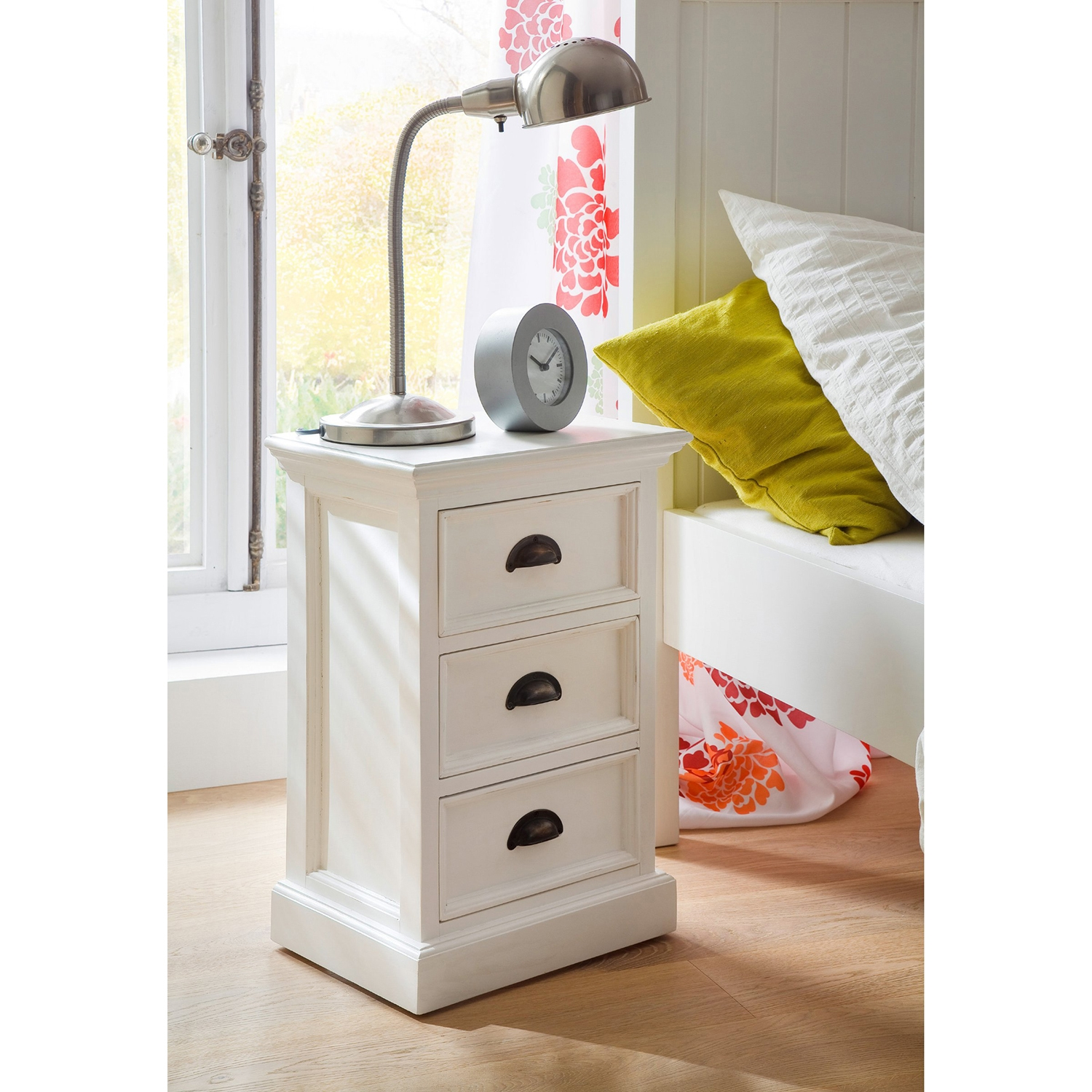Halifax 3-Drawer Bedside Table - Pure White - NSOLO-CA599
