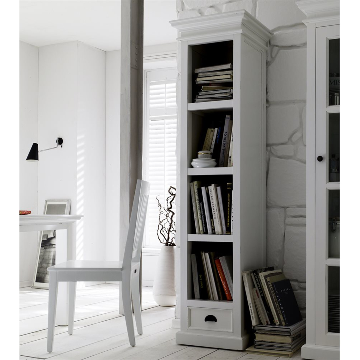 Halifax Bookshelf with Drawer - Pure White - NSOLO-CA601