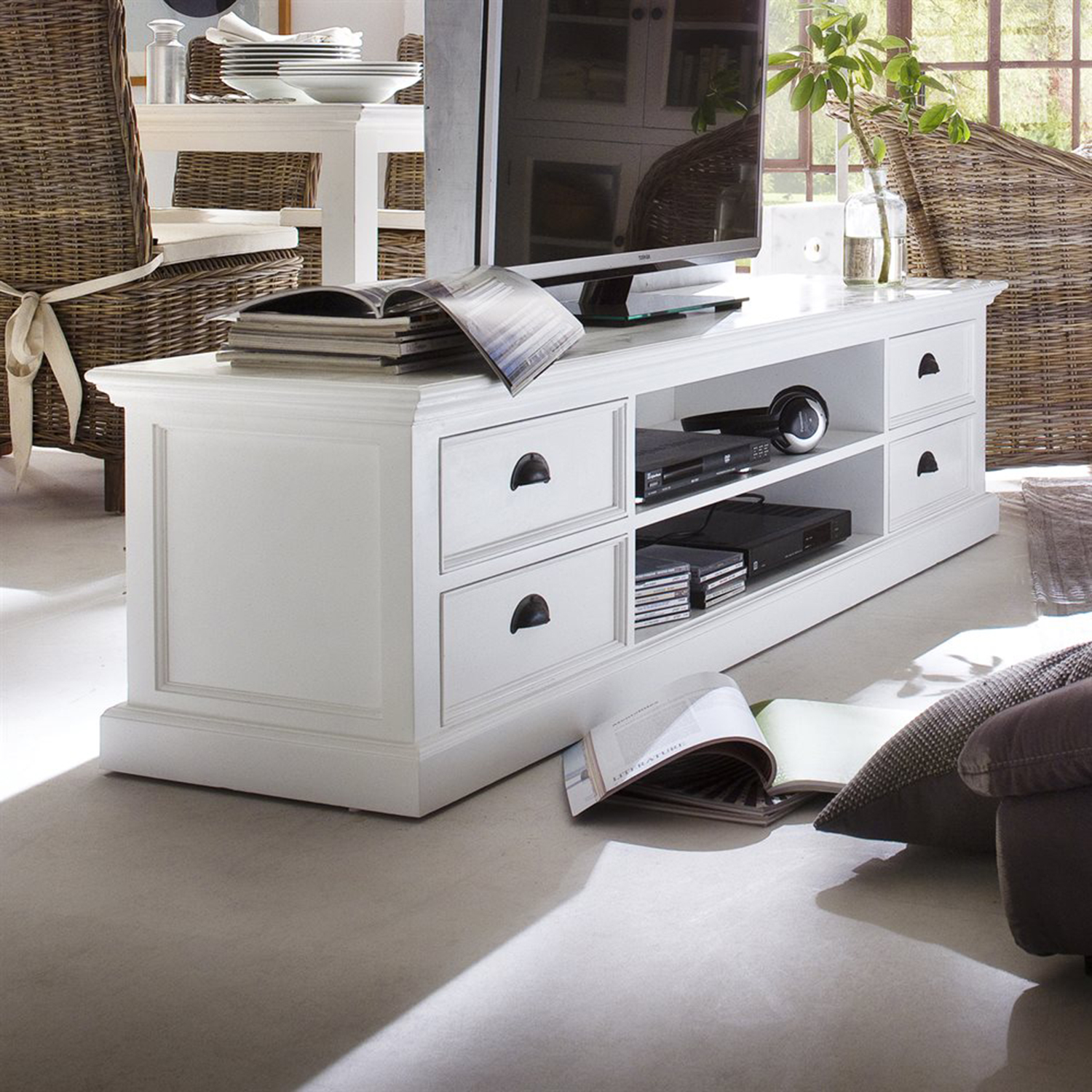 Halifax Large ETU with 4 Drawers - Pure White - NSOLO-CA631