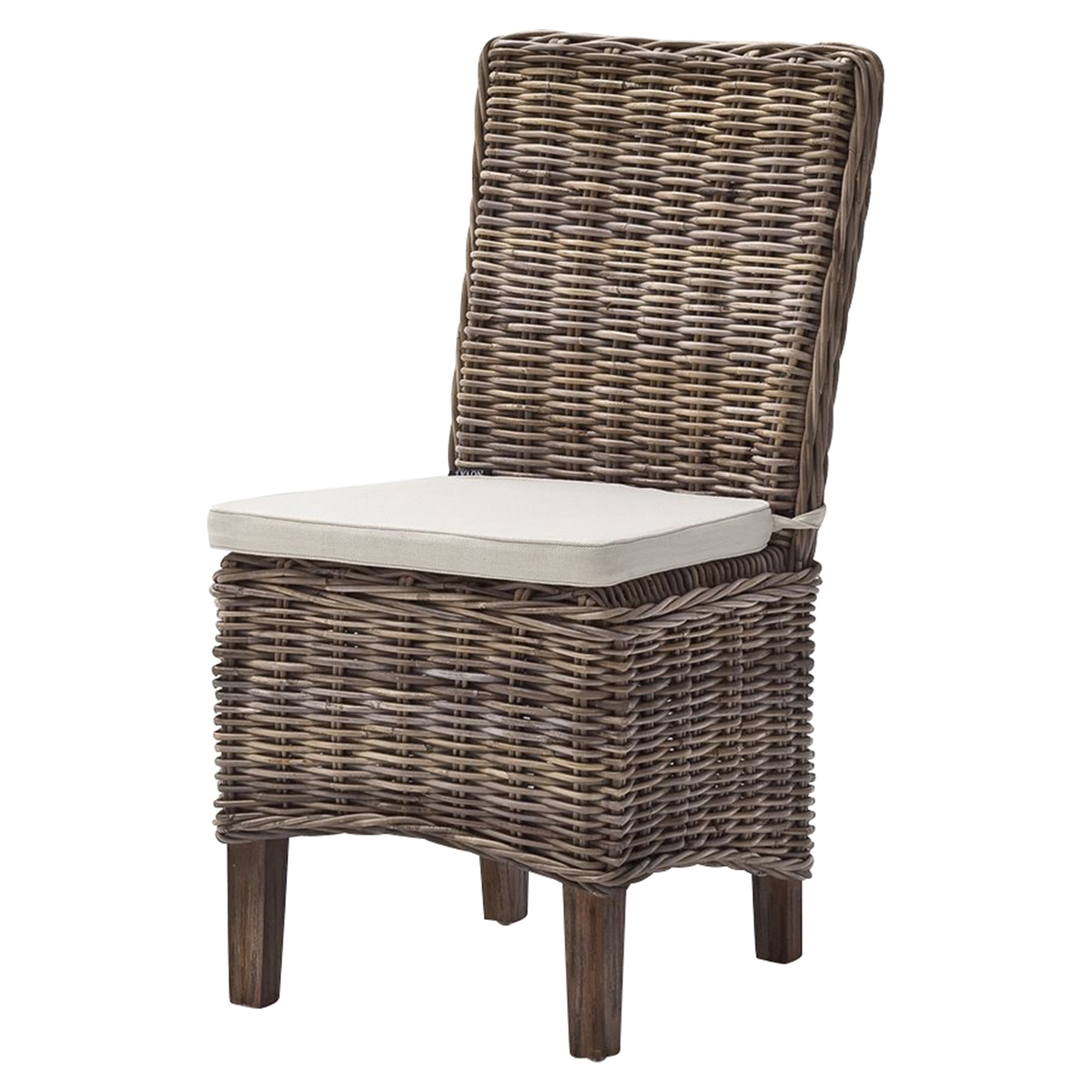 Wickerworks Morin Dining Chair with Cushion - Natural Gray (Set of 2) - NSOLO-CR14