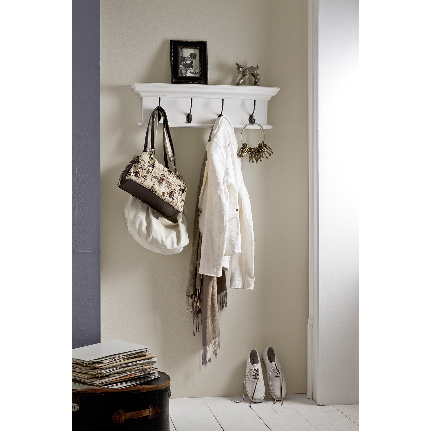 Halifax 4-Hook Coat Rack - Pure White - NSOLO-D160