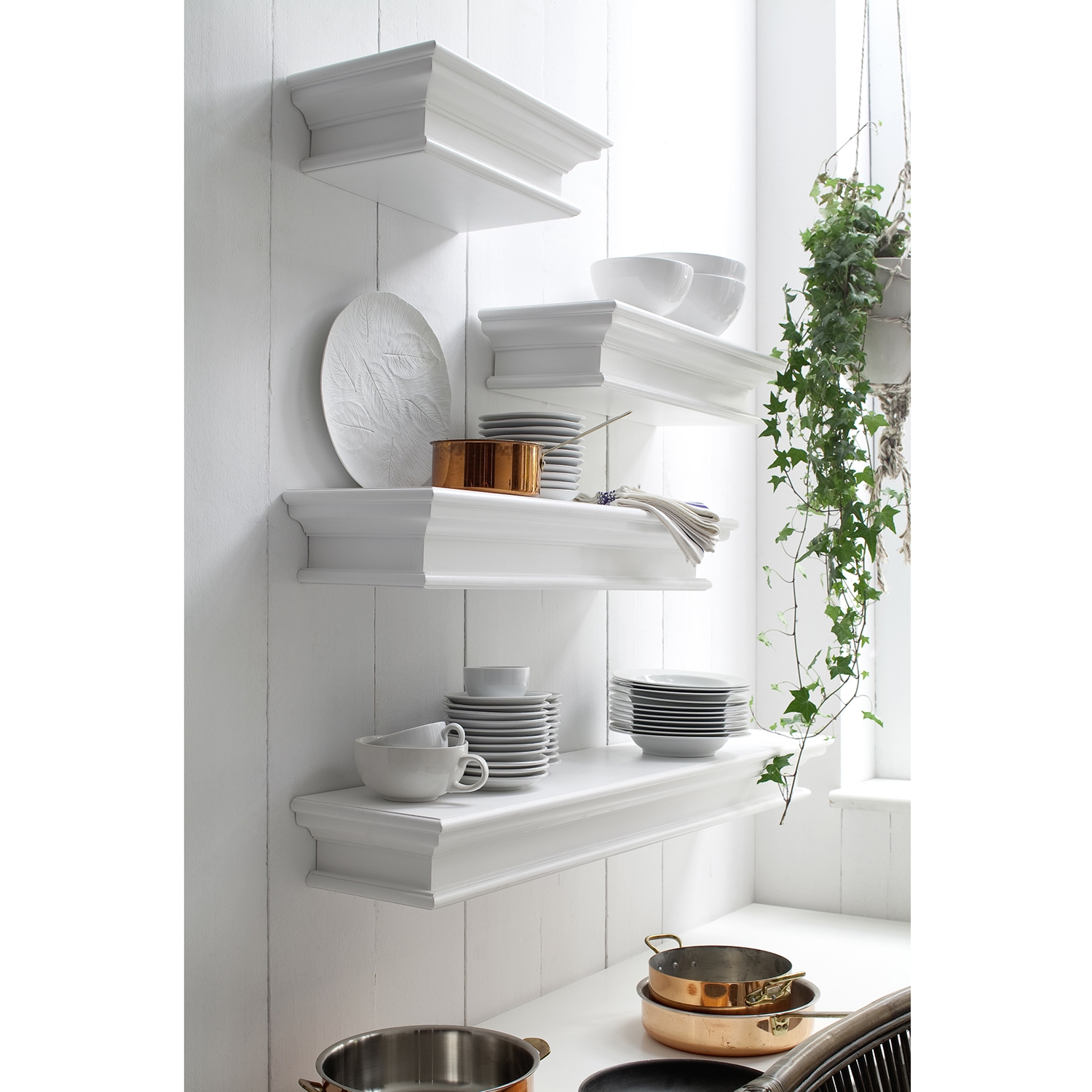 Halifax Floating Short Wall Shelf - Pure White - NSOLO-D163