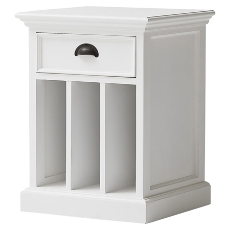 Halifax Bedside Table 2 Dividers Pure White Dcg Stores
