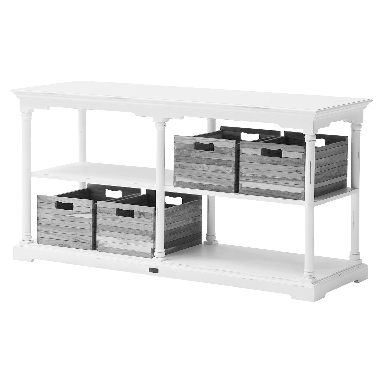 Bordeaux Medium Kitchen Table - 4 Boxes, White Distressed - NSOLO-T786