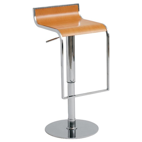 Nero Piston Swivel Stool - Adjustable, Wood Seat