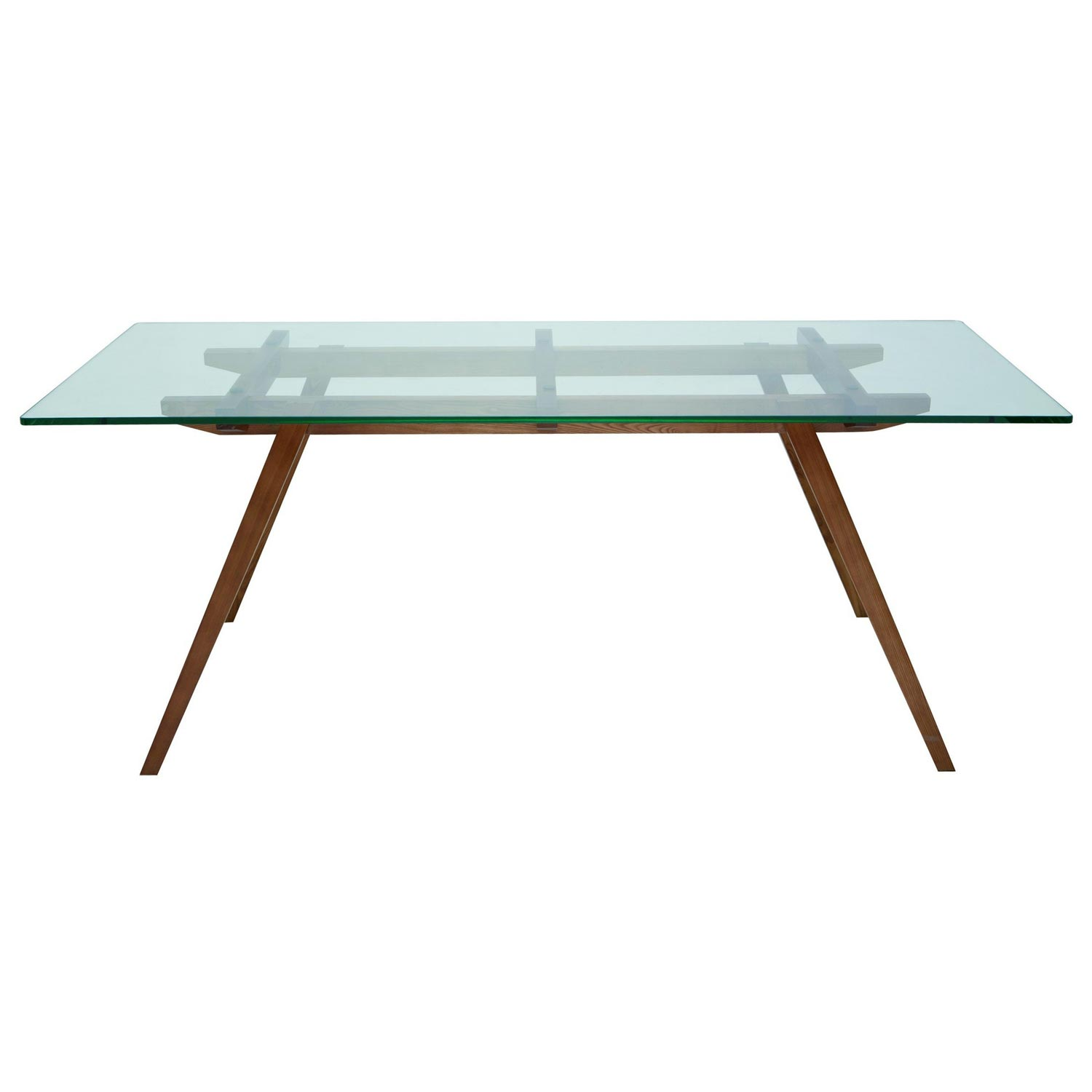 Franz Contemporary Glass Dining Table - Tempered Glass, Walnut - NVO-HGEM14X-DT