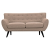 Ida Button Tufted Upholstery Loveseat - Light Sand - NYEK-223302
