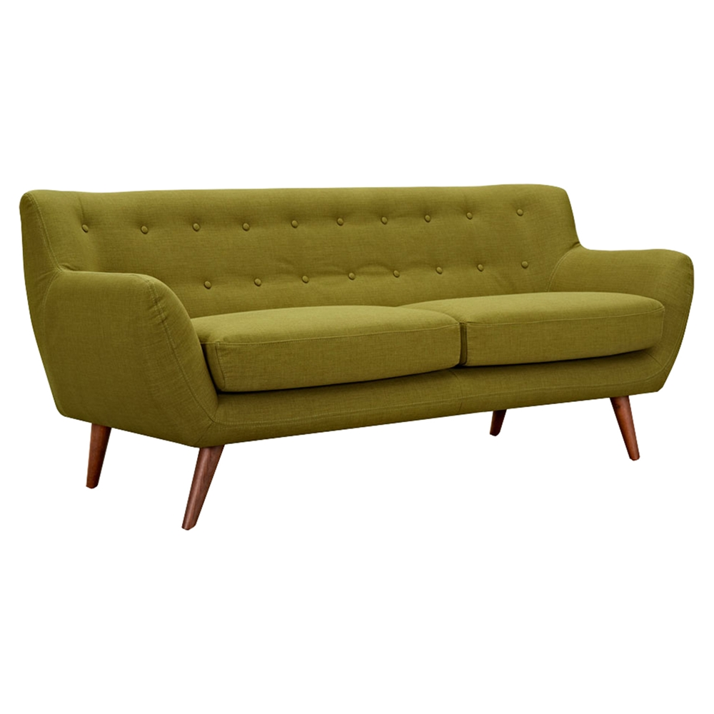 Ida button tufted upholstery sofa avocado green dcg stores for Button tufted chaise settee green