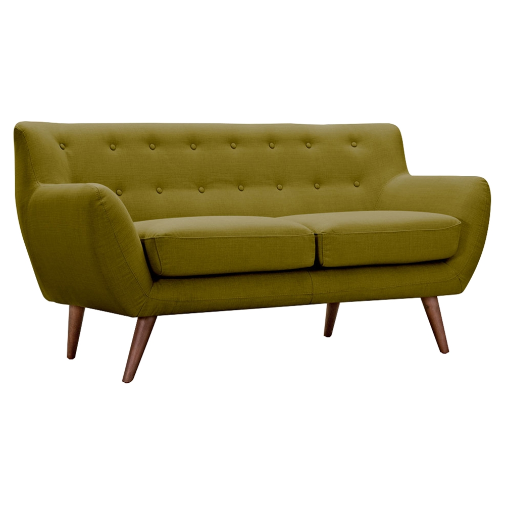 Ida button tufted upholstery loveseat avocado green dcg for Button tufted chaise settee green