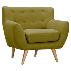 Ida Button Tufted Upholstery Armchair - Avocado Green