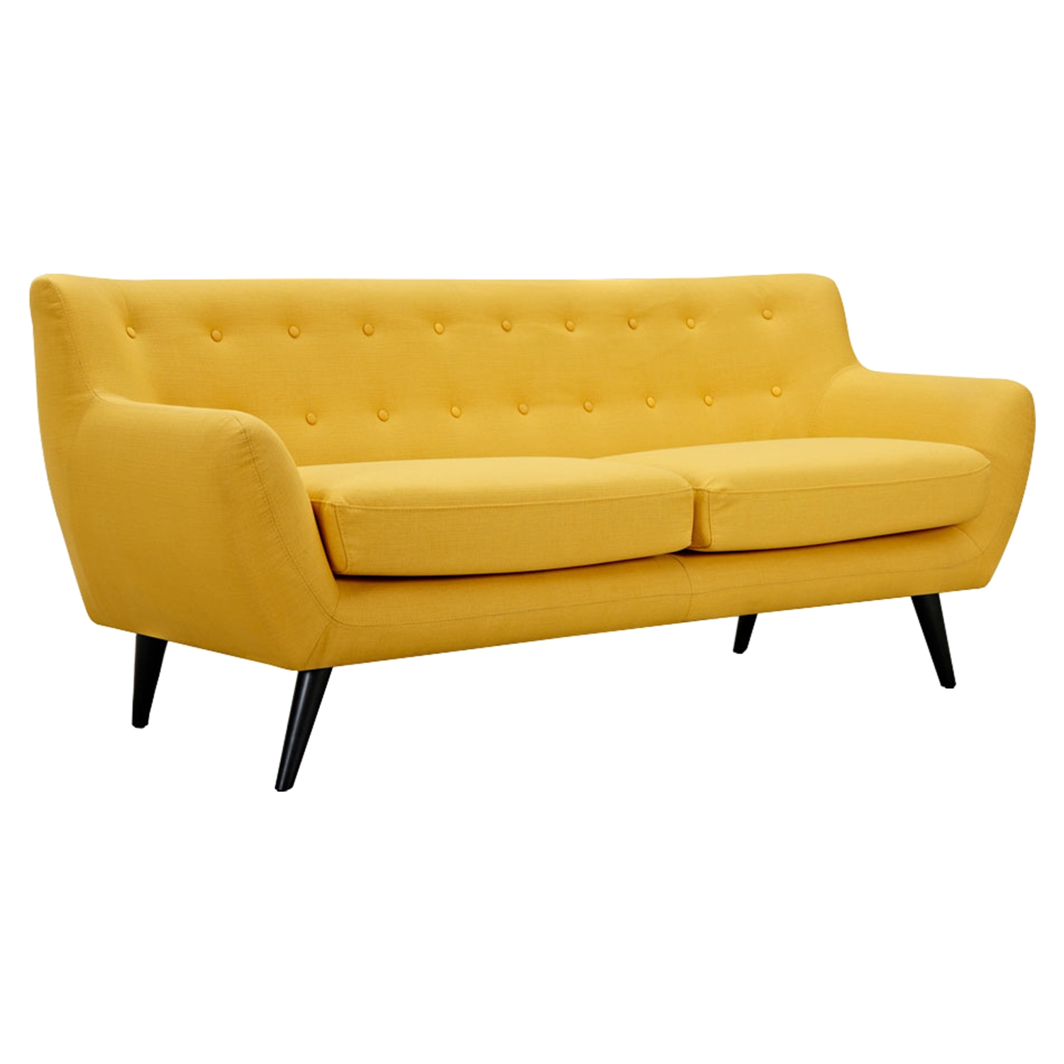 Ida Button Tufted Upholstery Sofa Papaya Yellow Dcg Stores