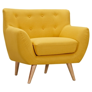 Ida Button Tufted Upholstery Armchair - Papaya Yellow