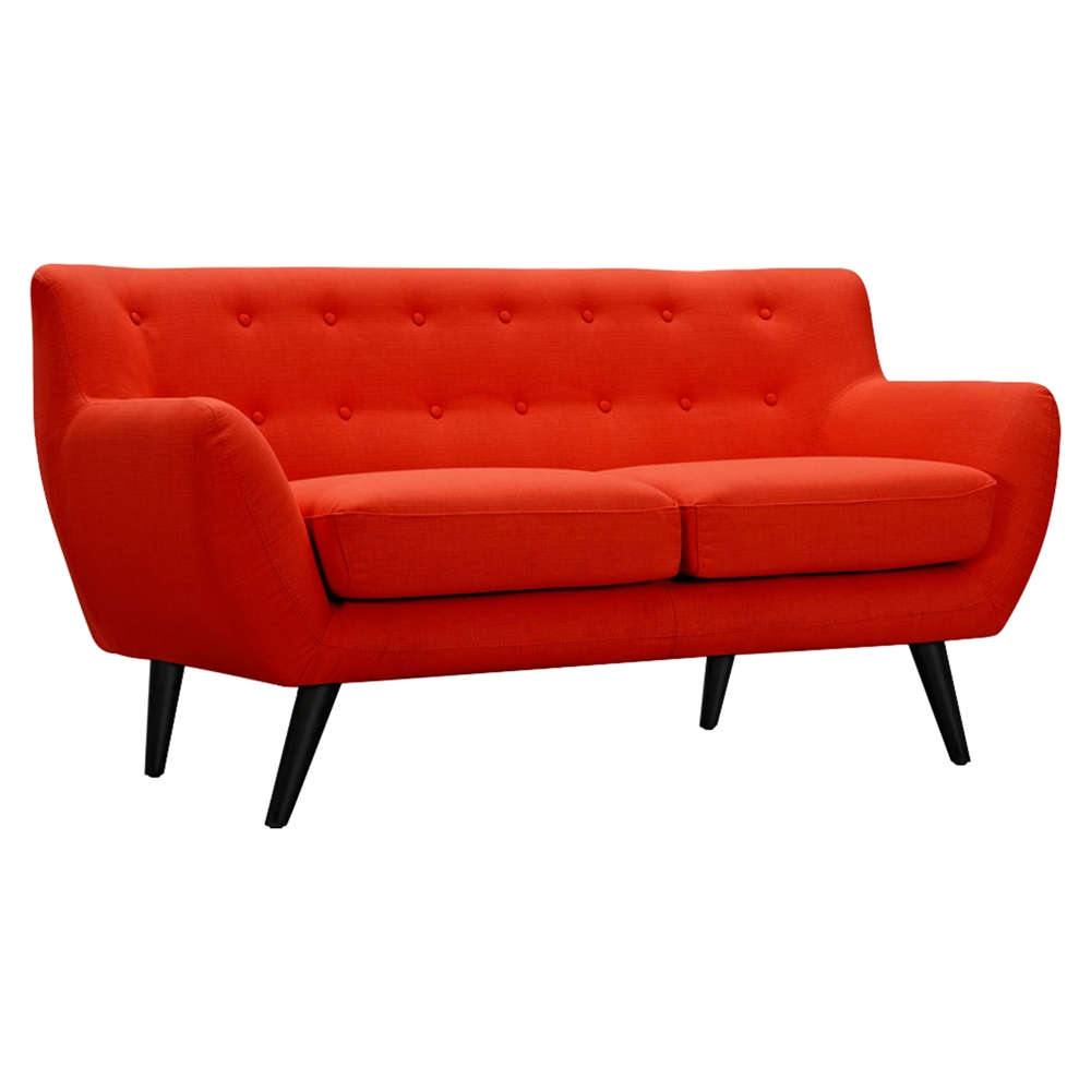 Ida Button Tufted Upholstery Loveseat Retro Orange Dcg Stores