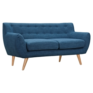 Ida Button Tufted Upholstery Loveseat- Stone Blue