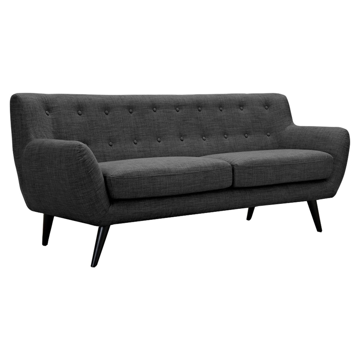 Ida Button Tufted Upholstery Sofa - Charcoal Gray - NYEK-223321