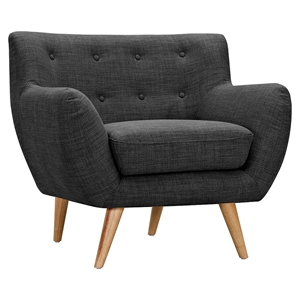 Ida Button Tufted Upholstery Armchair - Charcoal Gray