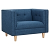 Kaja Armchair - Stone Blue, Tufted - NYEK-223338