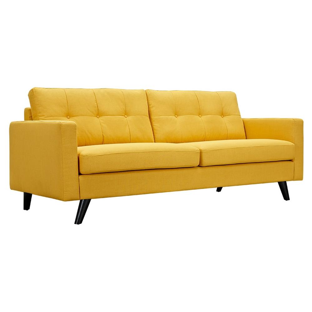 Uma sofa papaya yellow button tufted dcg stores Sofa uma