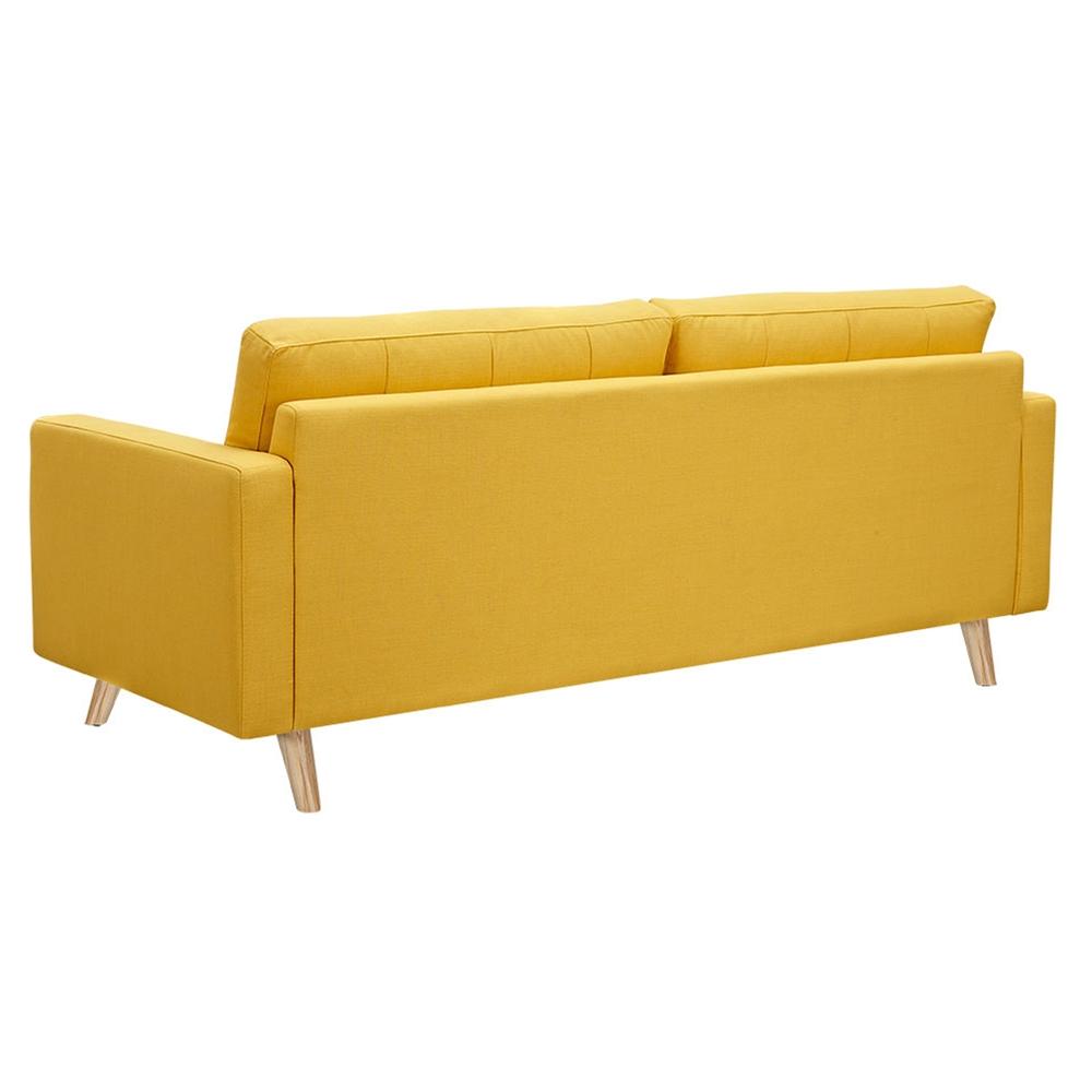 Uma sofa papaya yellow button tufted dcg stores for Sofa bed uma